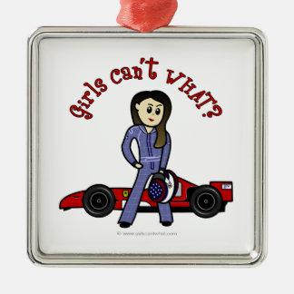 Light Race Car Driver Girl Metal Ornament