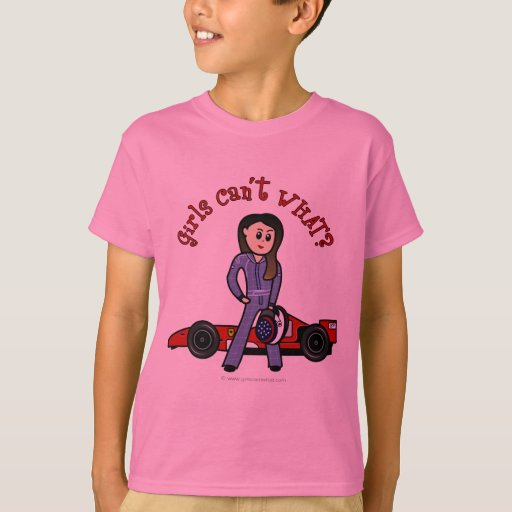 Light race car driver girl t shirt zazzle for Race car driver t shirts