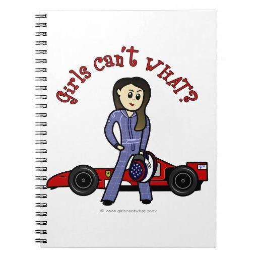 Light Race Car Driver Spiral Notebooks