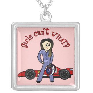 Light Race Car Driver Square Pendant Necklace