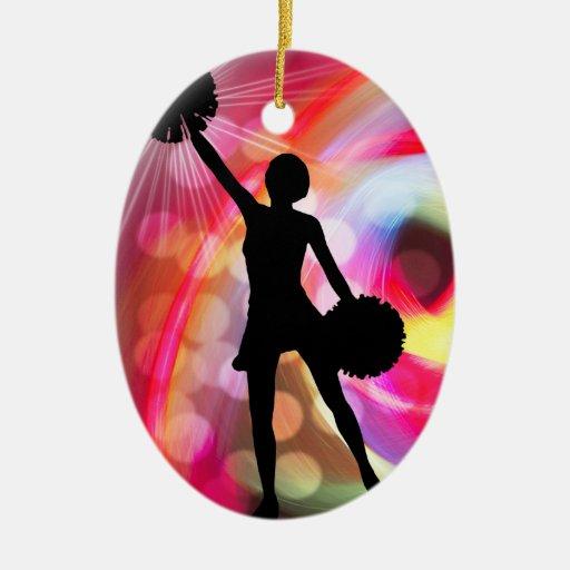 Light Rainbow with Cheerleader Christmas Ornaments
