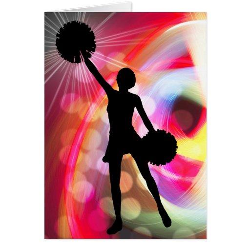 Light Rainbow with Cheerleader Greeting Card
