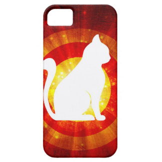 Light Rays Abstract With Magic White Cat Case For iPhone 5/5S