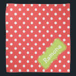 """Light Red and Palm Green Polka Dot Personalized Bandana<br><div class=""""desc"""">Cute white polka dots on light red with a Palm Leaf Green label that you can personalize with your choice of name or special text.</div>"""