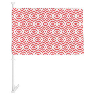 Light Red and White Diamond Pattern Car Flag