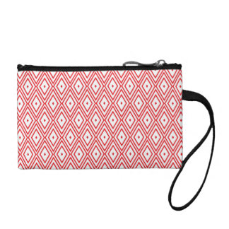 Light Red and White Diamond Pattern Coin Wallet