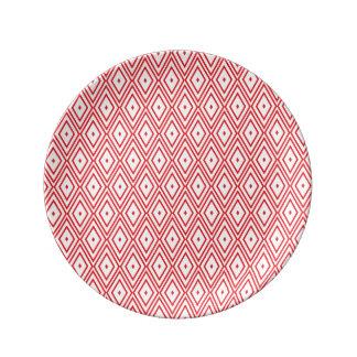 Light Red and White Diamond Pattern Dinner Plate