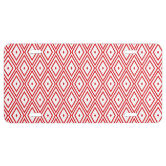 Light Red and White Diamond Pattern License Plate