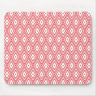 Light Red and White Diamond Pattern Mouse Pad