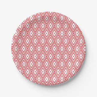Light Red and White Diamond Pattern Paper Plate