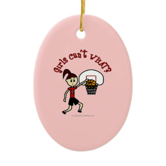 Light Red Basketball Double-Sided Oval Ceramic Christmas Ornament