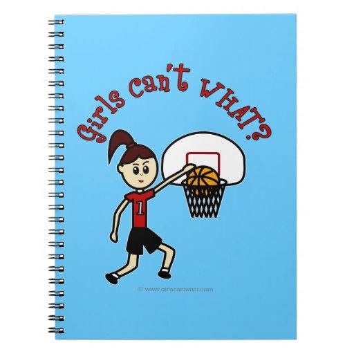 Light Red Basketball Girl Spiral Note Book
