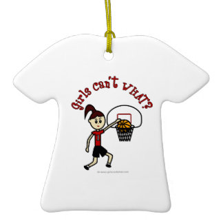 Light Red Basketball Double-Sided T-Shirt Ceramic Christmas Ornament