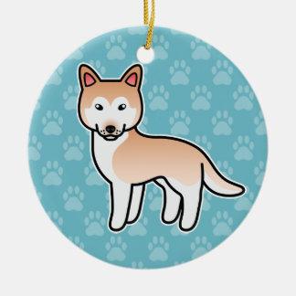 Light Red Cartoon Siberian Husky Christmas Ornaments