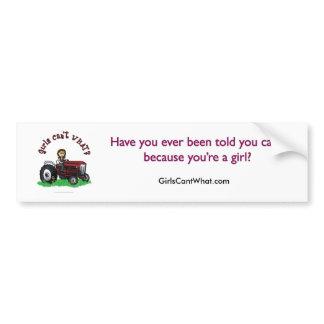 Light Red Farmer Girl Bumper Sticker