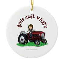 Light Red Farmer Girl Ceramic Ornament