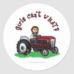 Light Red Farmer Girl Classic Round Sticker