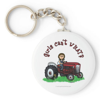 Light Red Farmer Girl Keychain
