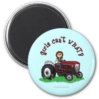 Light Red Farmer Girl Fridge Magnets