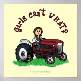 Light Red Farmer Girl Poster