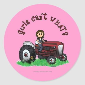 Light Red Farmer Girl Round Sticker