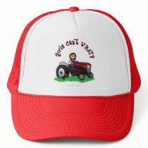 Light Red Farmer Girl Trucker Hat
