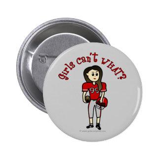Light Red Football Pinback Buttons