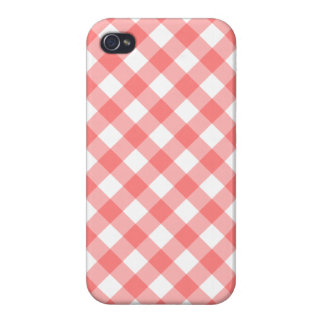 Light Red Gingham iPhone 4 Case