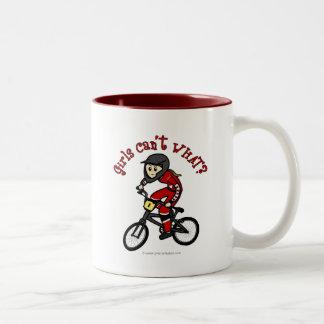LIght Red Girls BMX Two-Tone Coffee Mug