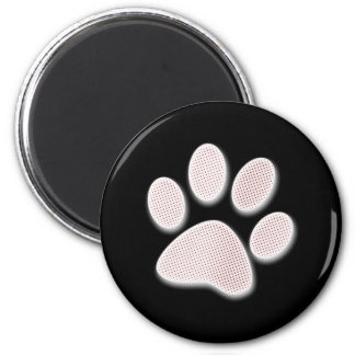 Light Red Halftone Paw Print 2 Inch Round Magnet