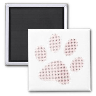 Light Red Halftone Paw Print 2 Inch Square Magnet