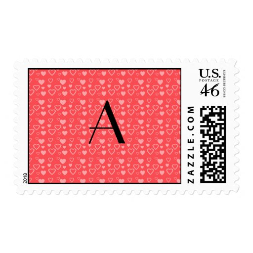 Light red hearts monogram postage stamp