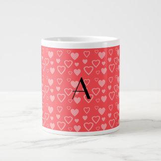 Light red hearts monogram jumbo mug
