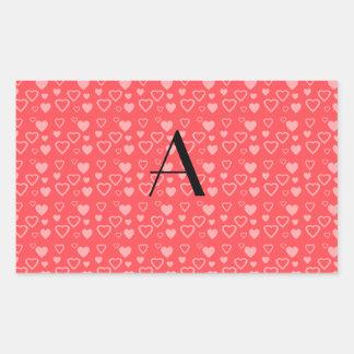 Light red hearts monogram stickers