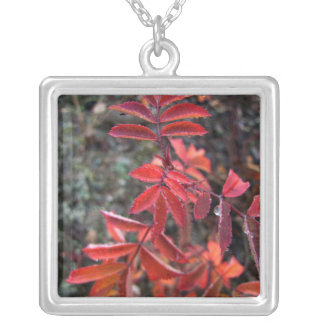 Light Red Leaves Square Pendant Necklace