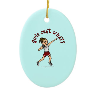 Light Red Shot Put Double-Sided Oval Ceramic Christmas Ornament