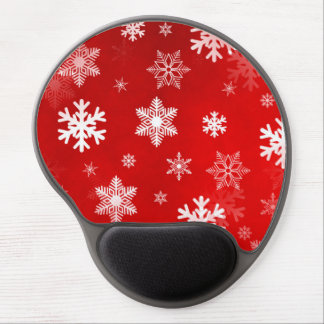 Light Red Snowflakes Gel Mouse Pad
