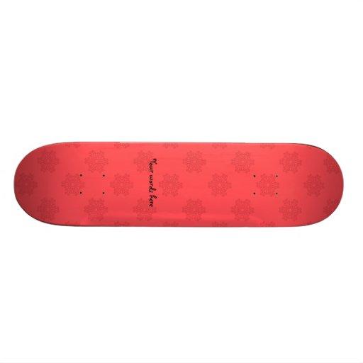 Light red snowflakes pattern skate deck