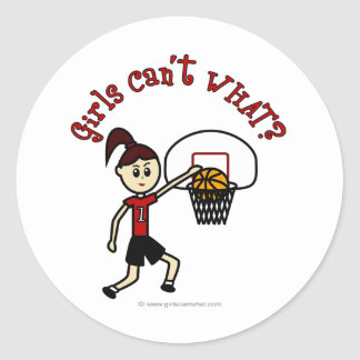 Light Red Womens Basketball Classic Round Sticker