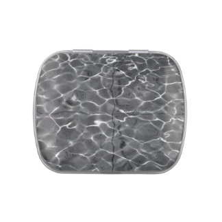 Light Reflections On Water: Black & White Jelly Belly Candy Tin