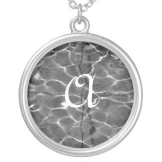 Light Reflections On Water: Black & White Round Pendant Necklace