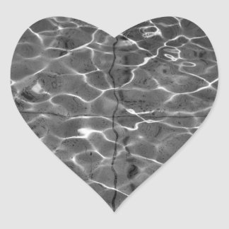 Light Reflections On Water: Black & White Heart Stickers