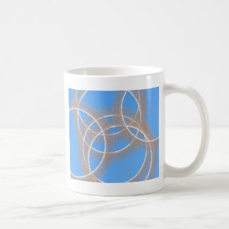 light rings in blue background abstract coffee mug