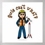 Light Rocket Scientist Girl Poster