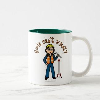 Light Rocket Scientist Girl Two-Tone Coffee Mug