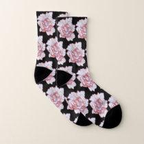 Light Rose Blossom Patterned Socks