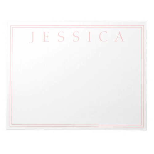 Light Rose Pink  Your Name Notepad
