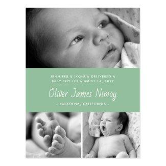 Light Sage Green Birth Announcement Baby Photo Postcard