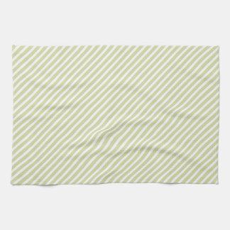 Light Sage Green Diagonal Stripes Kitchen Towels