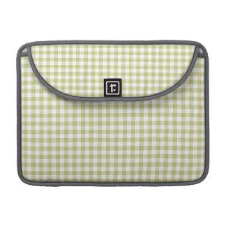 Light Sage Green Gingham; Checkered Pattern MacBook Pro Sleeves